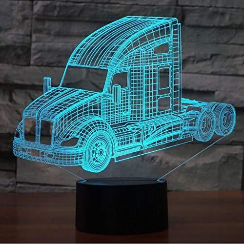 3D Nachtlichter,Fernbedienung Lkw Bus Mixer Container Lkw Firetruck 3D Led Nachtlichter Für Kinder Touch Usb Tisch Lampara Lampe Nachtlicht