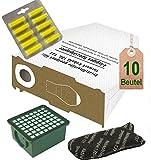 Spar Angebot 10 weiße Staubsaugerbeutel Filter Set und Duft lemon passend für Vorwerk Kobold VK 130 , Kobold VK 131 und 131 SC mit EB 350 / EB 351