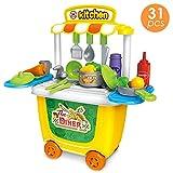HERSITY 31 Stück Mini Küchenspielzeug Rollenspiel Kochen Lebensmittel Spielzeug Plastik Geschenke für Kinder Junge Mädchen