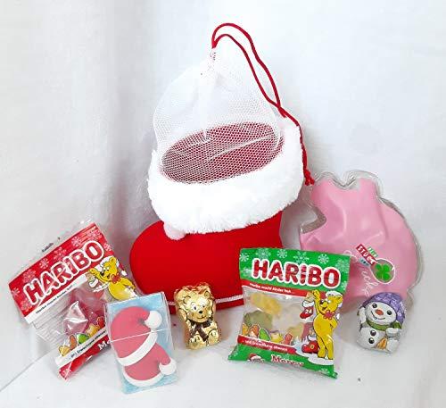 110602 Mini Nikolaus Geschenk Set mit Stiefel (10cm), Wichtelgeschenk, Glücksbringer, Radiergummi Weihnachtsmützen, Badegel