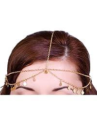 Damen Strass Haarkette silber Haarband Hochzeit Stirnband Stirnschmuck Kette