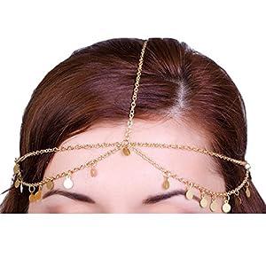 Legitta Damen Schmuck Gold Haarschmuck Paillette Hochzeit Schmuck Haarband Haarkette Lang Kette für Frauen Mädchen-EA0005G