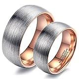 CARTER PAUL 6mm Wide Arc Scrub Paar Wolfram Stahl Ring, Farbe Rose Gold, Größe Damen 52 (16.6)