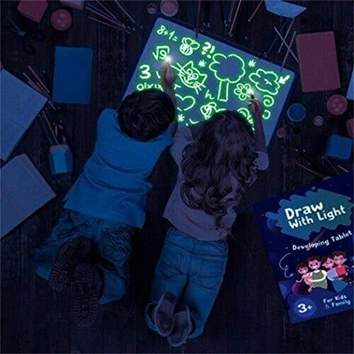 cioler Niños pintando el Tablero de Escritura Luminous Graffiti 3D Painting Board Juegos educativos
