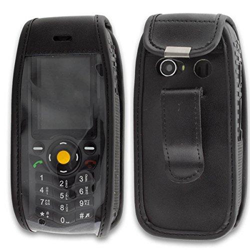 caseroxx-Handy-Tasche-Ledertasche-mit-Grtelclip-fr-CAT-B25-aus-Echtleder-Handyhlle-fr-Grtel-mit-Sichtfenster-aus-schmutzabweisender-Klarsichtfolie-in-schwarz