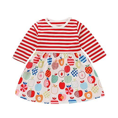 HEETEY Baby Fröhliche Weihnachten Outfit Sets Kleinkind-Baby-Mädchen Frucht Striped Splice Dress Weihnachtsfeier Kleid Outfits Apple Striped Mosaik Weihnachten Kleid
