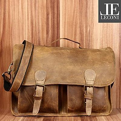 LECONI Attaché-case Bag messenger pour Dames + Hommes Sacoche en cuir DIN A4 Look vintage Sac collège Cuir 38x28x8cm LE3009