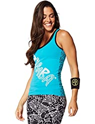 Zumba Fitness Comic Racerback - Camiseta sin mangas para mujer, color azul, talla L