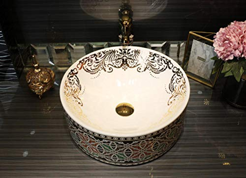 Hiwenr Europa-Art-Handgemachtes Countertop-Keramisches Badezimmer-Bassin-Waschbecken-Keramikwaschbecken-Porzellankunst-Bassinwaschbecken-Kostenzähler