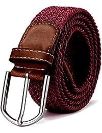 DonDon Cinturón trenzado extensible y elástico para hombres y mujeres de  100 cm a 130 cm 71098cdeb16a