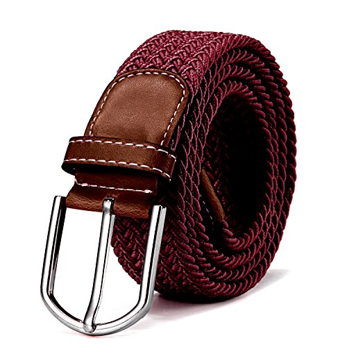 DonDon Cinturón trenzado extensible y elástico para hombres y mujeres de 100 cm a 130 cm de longitud burdeos