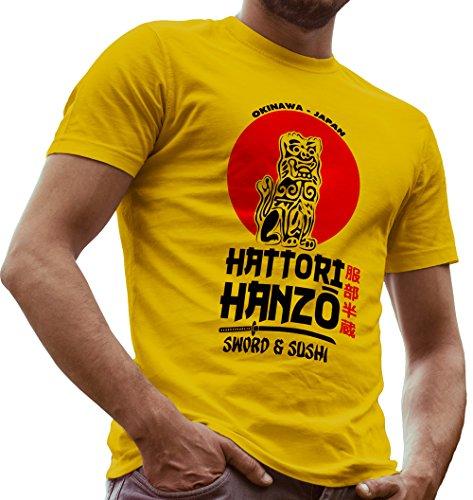 Cotton Blend Short Sleeve Shirt (Hattori Hanzo Sword and Sushi Kill Bill Fan Made Shirt by LeRage Hemd Herren Gelb Large)