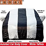 #7: Autofact Honda New Amaze 2018 Car Accessories - Car Body Cover with Mirror Pockets (Triple Stitched, Bottom Fully Elastic, White/Blue Color)