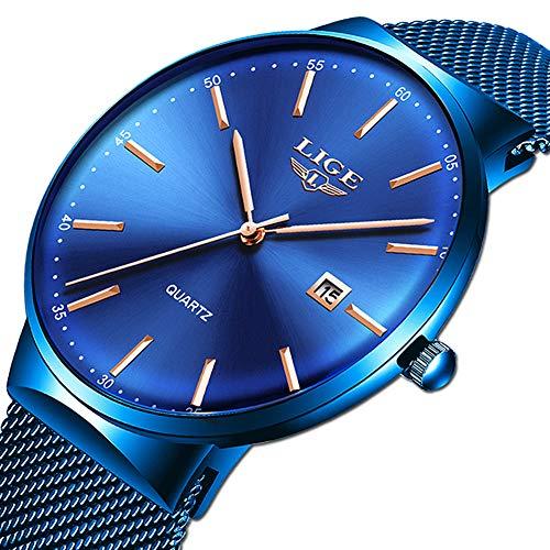 LIGE Herren Uhren Ultradünner Einfach Analoge Quarzuhr Mode Blau Edelstahl Datum Uhren Sport Wasserdicht Mesh Uhr