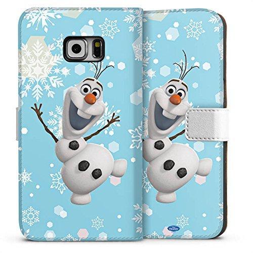 DeinDesign Tasche kompatibel mit Samsung Galaxy S6 Edge Plus Leder Flip Case Ledertasche Disney Frozen Olaf Geschenk Fanartikel (Frozen Disney Tasche)