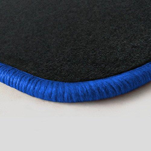 (Randfarbe nach Wahl) Passgenaue Fußmatten aus Nadelfilz Graphit mit royalblauem Rand (204) (Colts-fußmatten)