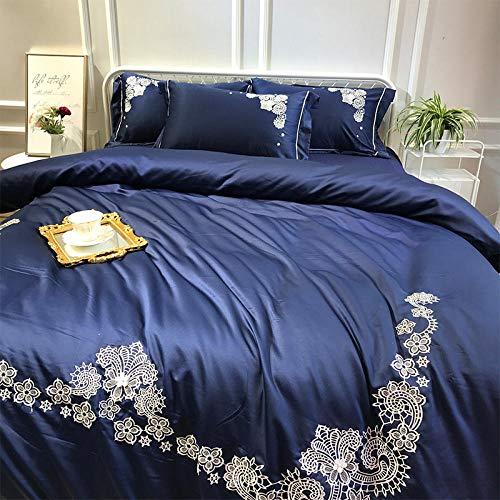 zlzty Bettlaken aus gebürsteter Baumwolle, Bettlaken aus Baumwolle, Steppdecke aus Seidensatin, Bettwäsche, Bettbezug für eine Person, Kingsize-Bettwäscheset @ Navy Blue_2.0m Bett (Blue Bettbezug Navy Kingsize)