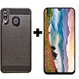 POPIO Transparent Tempered Glass and Back Cover Case Combo for Samsung Galaxy M30