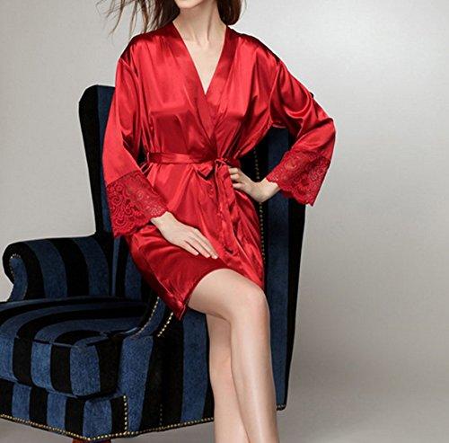 2017 La Signora Di Seta Sexy Due Pezzi A Maniche Lunghe Casuali Pigiami Traspirante E Confortevole Camicie Da Notte Red