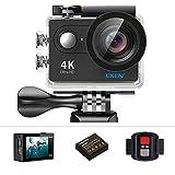 Eken h9r Action-Kamera 4K 12MP WLAN Sport-Ultra-HD Kamera, 30m unter Wasser 170° Blickwinkel mit 2Zoll-LCD-Bildschirm, 2,4G-Fernbedienung und Dual 1050mAh, wiederaufladbar, wasserdicht, mit Zubehör, Schwarz, Schwarz