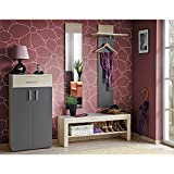 JUSThome OSLI Conjunto de muebles de entrada recibidor Tamaño: 195x180x35 cm Fresno Coimbra / Gris Grafito Mat