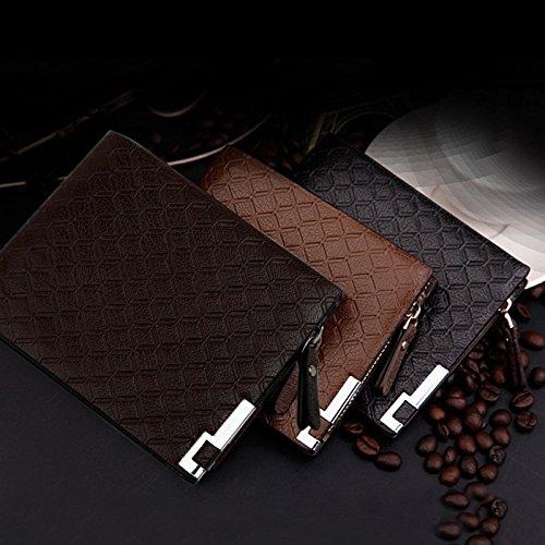 Hrph Neue Multifunktions -Männer Geldbörsen PU-Leder Reißverschluss Geschäfts-Mappen-Karten-Halter-Taschen-Geldbeutel -Plaid-Beutel-Art und Weise Light Coffee