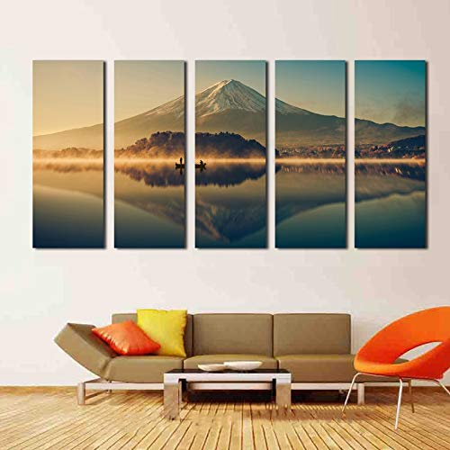 zxfcczxf Art Framework Decor Modern Wall Hd Printed 5 Pieces Mount Fuji and Lake Sunrise Scenery Paintings Poster Modular Pictures Canvas(with Frame)-30x40x2 30x60x2 30x80x1 Mount Fuji-panel