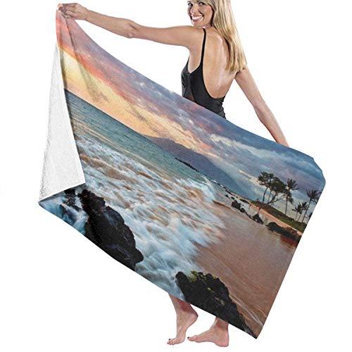 FERNMXZ Wailea Makena Beach Maui Hawaii Schönes Sonnenuntergang Meer Wellen Wolken Badetuch Weiche saugfähige Handtücher mit modischem Aufdruck für Dusche Gym Yoga