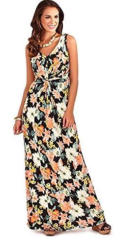 Gorgeous Ladies Tropical Flower Print Sleeveless Maxi Dress Summer Beach Holiday, Black/Yellow,