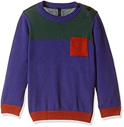 United Colors of Benetton Boys Sweater (16A1TRIC0034I901L_Royal Blue and Multicolor_L)