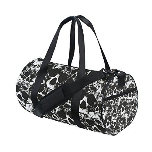 Ahomy Sporttasche mit Totenkopf-Motiv, Schwarz/Weiß