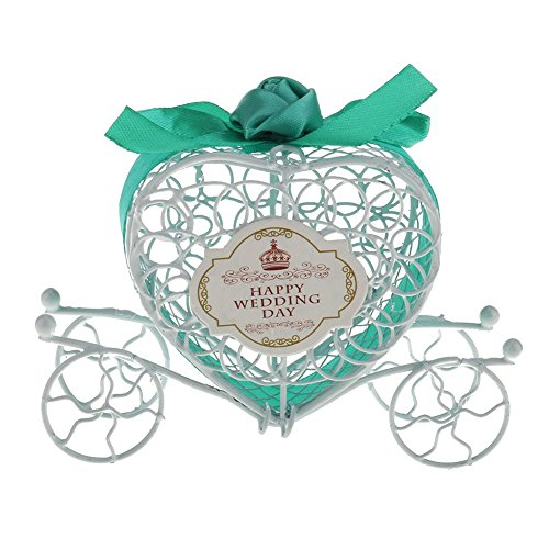ve Herz Candy Geschenk Schutzhülle Hollow Out Kürbis Kutsche Box Süßigkeiten Chocolate Candy Box Hochzeit Dekoration (rot), tiffany blue, 10*12*3.5cm ()