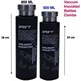 Frabble (800 ML,500 ML Combo) Double Wall Vacuum Sports Flask Insulated Thermos Travel Stainless Steel Water Bottle BPA Free , Shaker , Flask Hot And Cold Bottle For Upto 12 Hours. For Home , Gym , Sports , Office , School , Camping , Picnic . ( Pack Of 2