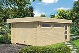 Holzgarage H27 - 70 mm Blockbohlenhaus, Grundfläche: 19,40 m², Flachdach
