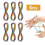 QYY 6 Stücke Kids Fun Fingertwist Fadenspiel Fingerspiel Bunt Regenbogen Rainbow Rope Schnur Mitgebsel