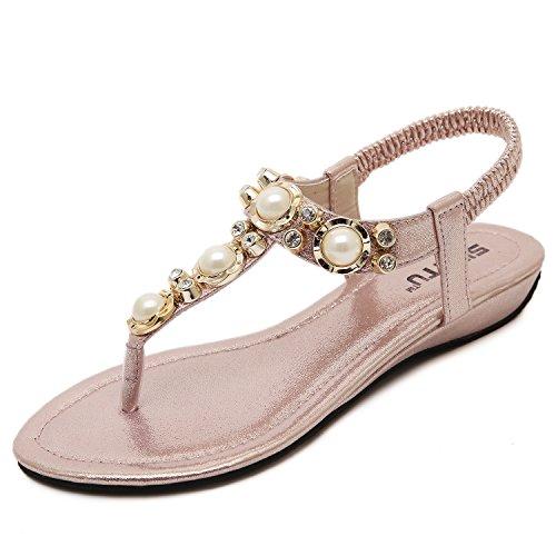 dqq femmes de perles ankls Sangle String Sandal Rose