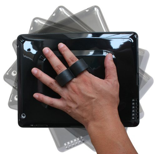 LapWorks 2Loop iPad Handle for iPad 2, 3 & 4 - With Two Finger Loops And Multi-Positional Support Arm With Silicone Case And 360 Degree Swivel