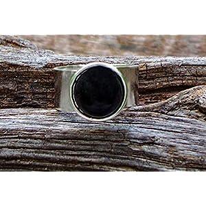 Bottled Up Designs Recycelte antike schwarze Depression Glas Glas Gem verstellbarer Ring