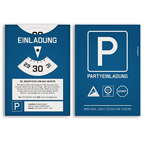 (10 x) Einladungskarten Geburtstag als Parkscheibe Auto Karte Einladungen