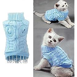 Cable Knit Suéter de Cuello Alto para Perros Pequeños y Gatos , Traje Rope de Tiempo Frío para Mascotas