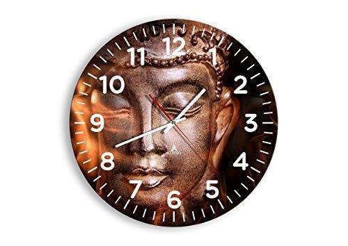 Horloge Murale - Ronde - Horloge en Verre - Pendule murales - 40x40cm - 2620 - Mécanisme d'écoulement - Silencieux - prete a Suspendre - Moderne - Décoration - Pret a accrocher - C4AR40x40-2620