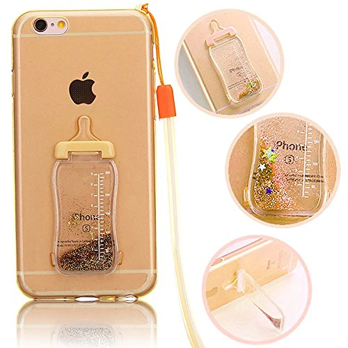 iPhone 6s Plus Hülle, iPhone 6 Plus Hülle, Vandot Glitzer TPU Silikon Crystal Case Cover für iPhone 6s Plus / 6 Plus Transparent Glänzend Glitter Bottles Schutzhülle Bling Shinin Flüssiges Liquid Dyna Gold