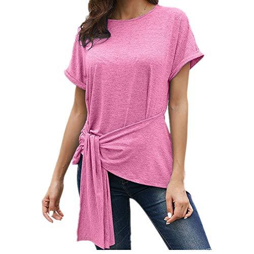 SKKG Camicette delle Donna Magliette con Scollo A V Slim Fit Casual Bottone Camicia Manica T-Shirt Tops Blusa Top Felpa da Donna A Manica Corta
