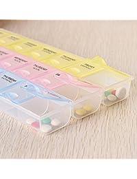 RuiChy Pastillero multicolor con 21 compartimentos, para medicinas de los 7 días de la semana (idioma español no garantizado)