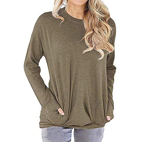 Reicy Damen Casual Rundhals Sweatshirt Pullover Lose Tunika Blusen Langarmshirt Tops mit Taschen Khaki S Khaki Damen Sweatshirt