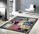 Velours Design Teppich Jardin Patchwork grün / blau / rosa, Größe:160x230