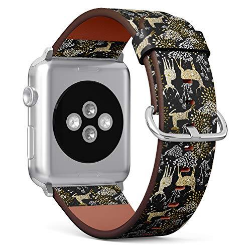 Armband für kleine Apple Watch, 38 mm & 40 mm, Leder, mit Edelstahlverschluss und Adaptern (Weihnachtliches Kostüm), goldfarben (Weihnachtliche Kostüm)