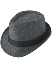 87fb74186ed FALETO Fedora Hat Trilby Hats Cotton Blended Panama Sun Jazz Cap for Mens  Womens