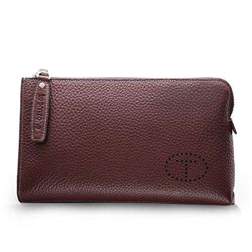 Teemzone Men Genuine Leather Business Clutch Bag Handbag Wrist Bag with Wristlet (Brown Size S)