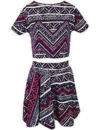 Minx pour fille Motif Floral T-shirt court imprimé aztèque Patineuse Jupe évasé et de tenue